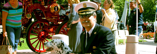 Mark Haskell in his Class A uniform at the annual Orange County Firefighter Memorial