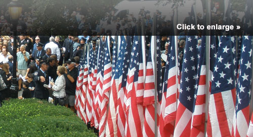 The 2011 FDNY Battalion 18 memorial service in New York City included 343 American flags, one flag for each FDNY firefighter who was lost.